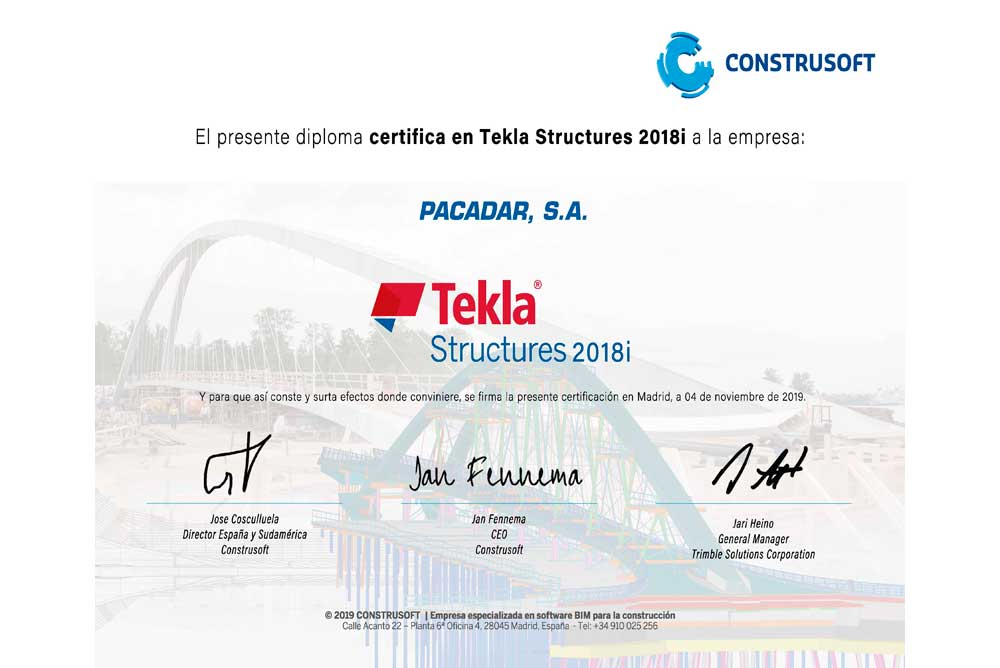 Acreditación Tekla Structures 2018i